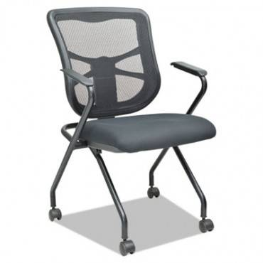 Elusion Mesh Nesting Chairs, Black, 2/carton, 2 Per Carton