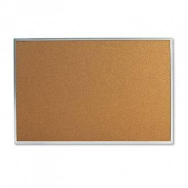 Universal  Bulletin Board, Natural Cork, 36 X 24, Satin-Finished Aluminum Frame