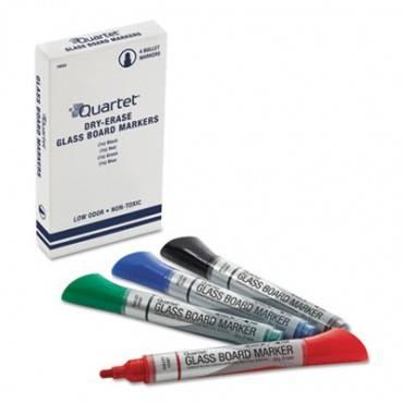 Premium Glass Board Dry Erase Marker, Bullet Tip, Assorted, 4/pack