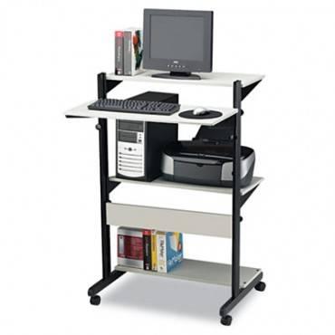 Soho Adjustable Mobile Computer Table, 32w X 31d X 50h, Gray/black