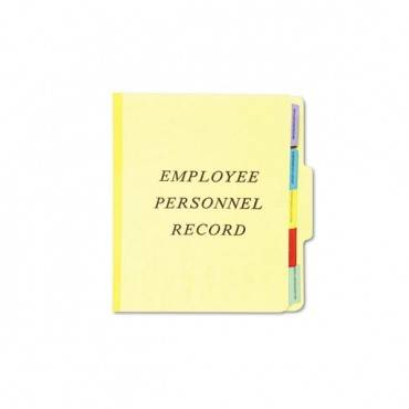 Vertical Style Personnel Folders, 1/3-cut Tabs, Center Position, Letter Size, Yellow