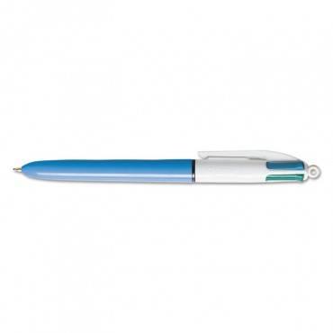 4-Color Retractable Ballpoint Pen, Assorted Ink, Blue Barrel, 1mm, Medium