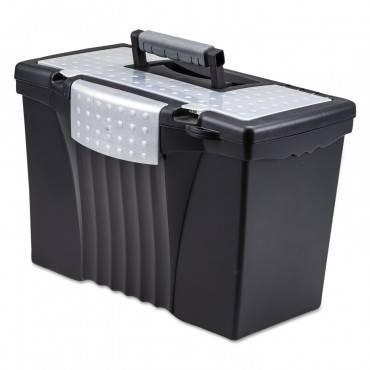 Storex Portable File Storage Box W/Organizer Lid, Letter/Legal, Black