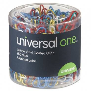 Universal  Plastic-Coated Wire Paper Clips, Jumbo, Assorted Colors, 250/Pack
