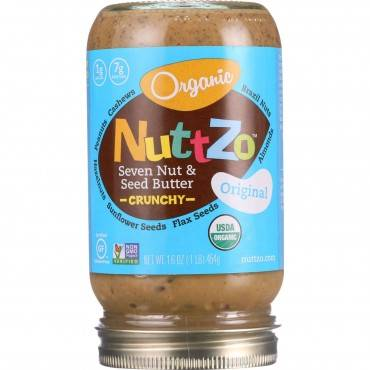 NuttZo Spread - Organic - Seven Nut and Seed Butter - Crunchy - with Peanuts - 16 oz - case of 6