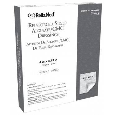 """Reliamed reinforced silver alginate/cmc dressing 4"""" x 4.75"""" part no. 10012538 (1/ea)"""