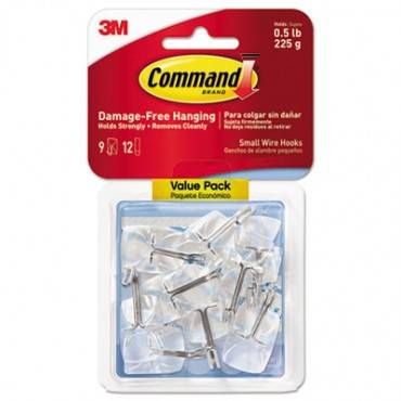 Command  Clear Hooks & Strips, Plastic/Wire, Small, 9 Hooks W/12 Adhesive Strips Per Pack