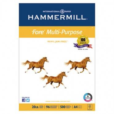 Hammermill  Fore Multipurpose Paper, 96 Bright, 20lb, A4, White, 500 Sheets/Ream
