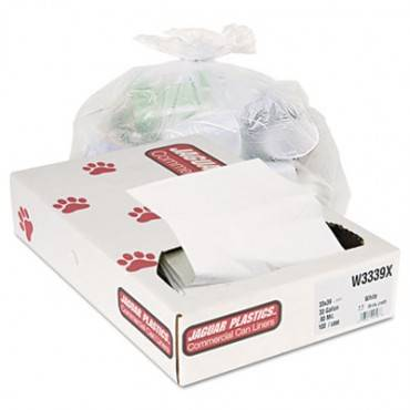 """Industrial Strength Low-density Commercial Can Liners, 33 Gal, 0.9 Mil, 33"""" X 39"""", White, 100/carton"""