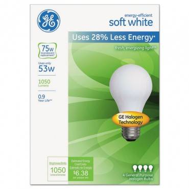 Ge Energy-Efficient Soft White 53 Watt A19, 4/Pack
