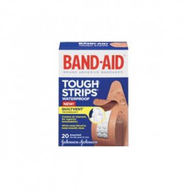 Band-aid tough-strips, waterproof, assorted sizes part no. 004834 (20/box)