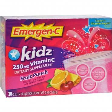 Alacer - Emergen-c Kidz Vitamin C Fizzy Drink Mix Fruit Punch - 250 Mg - 30 Packets