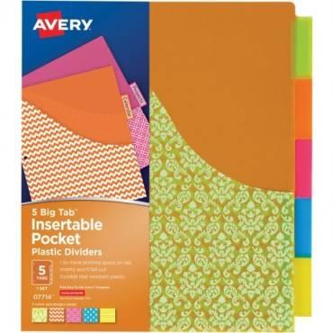 Avery® Big Tab Pocket Plastic Insertable Dividers - Student Designs (ST/SET)