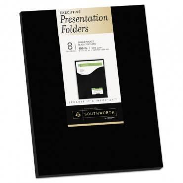 One-pocket Presentation Folders, 8 1/2 X 11, Black, 8/pack