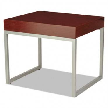 Occasional End Table, 23 5/8w X 20d X 20h, Mahogany/silver