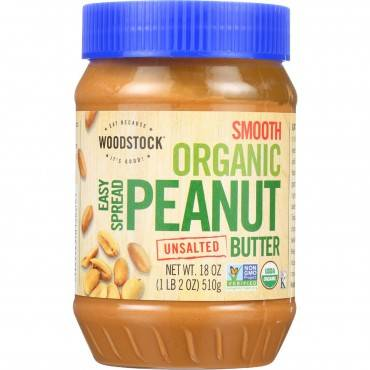 Woodstock Organic Easy Spread Peanut Butter - Smooth - Unsalted - Case Of 12 - 18 Oz.