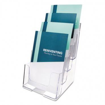 4-compartment Docuholder, Booklet Size, 6.88w X 6.25d X 10h, Clear