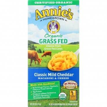 Annies Homegrown Macaroni And Cheese - Organic - Grass Fed - Classic Mild Cheddar - 6 Oz - Case Of 12