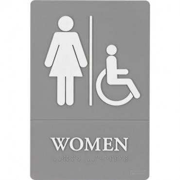 "Quartet® ADA Signs, Women (Accessible), 6"" x 9"", Grade 2 Braille (EA/EACH)"