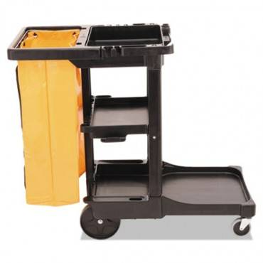 Multi-shelf Cleaning Cart, Three-shelf, 20w X 45d X 38-1/4h, Black