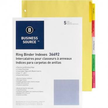 Business Source Insertable Tab Ring Binder Indexes (ST/SET)