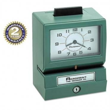 Model 125 Analog Manual Print Time Clock With Month/date/0-12 Hours/minutes