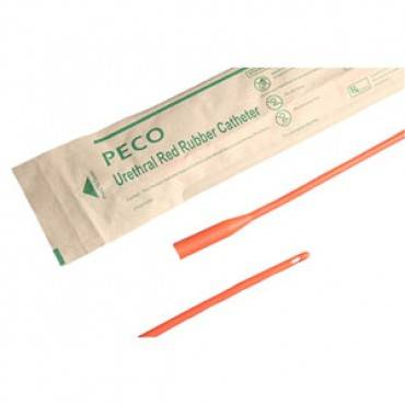 """PECO Red Rubber Coude Catheter 20 Fr 16"""" Part No. PU7720C Qty 1"""
