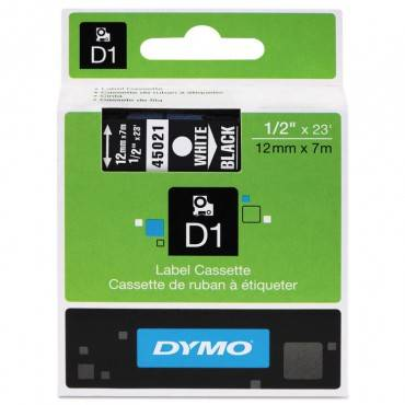 "D1 High-Performance Polyester Removable Label Tape, 1/2"" X 23 Ft, White On Black"