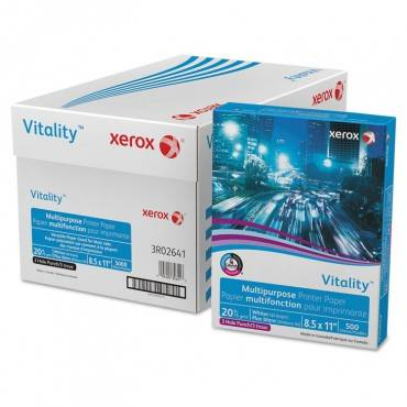 Xerox  Vitality Multipurpose 3-Hole Punched Paper, 8 1/2 X 11, White, 500 Sheets/Rm