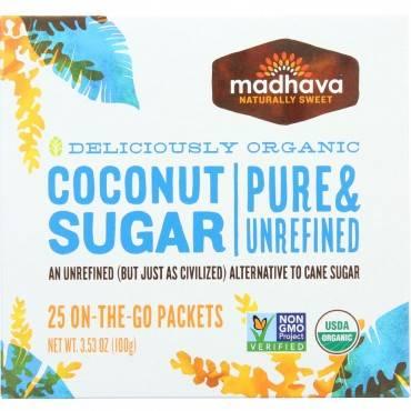 Madhava Honey Coconut Sugar - Organic - 25 Count - 3.53 Oz - Case Of 6