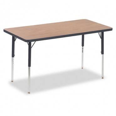 4000 Series Rectangular Activity Table, 24w X 48d X 30h, Medium Oak/chrome