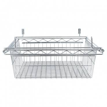 Sliding Wire Basket For Wire Shelving, 18w X 24d X 8h, Silver