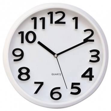 """Universal  Round Wall Clock, White, 13"""""""