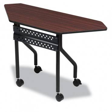 Officeworks Mobile Training Table, Trapezoid, 48w X 18d X 29h, Mahogany/black