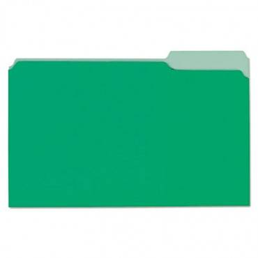 File Folders, 1/3 Cut One-Ply Tab, Legal, Bright Green/light Green, 100/box
