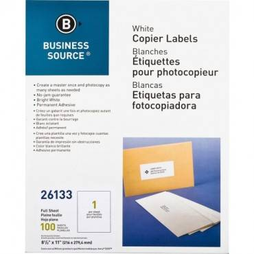 "Business Source 8-1/2""x11"" Copier Labels (PK/PACKAGE)"