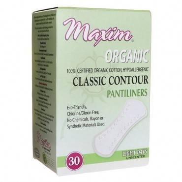 Maxim Hygiene Organic Cotton Classic Contour Pantiliners Light Days - 30 Pads