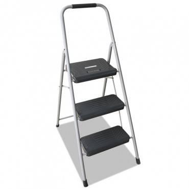 Black And Decker Steel Step Stool, Three-step, 200 Lb Cap, Gray
