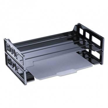 Universal  Side Load Legal Desk Tray, Two Tier, Plastic, Black
