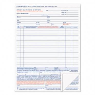 Bill Of Lading,16-Line, 8-1/2 X 11, Three-Part Carbonless, 50 Forms