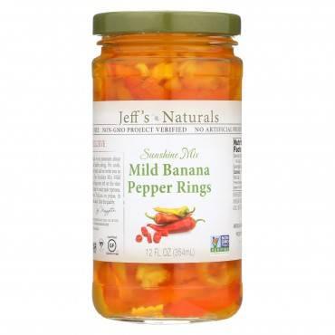 Jeff's Natural Banana Pepper - Mild - Sliced - Case of 6 - 12 fl oz