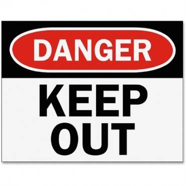 Tarifold Safety Sign Inserts-Danger Keep Out (PK/PACKAGE)
