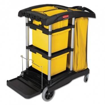 Rubbermaid  Commercial Hygen  Hygen M-Fiber Healthcare Cleaning Cart, 22w X 48-1/4d X 44h, Black/Yellow/Silver