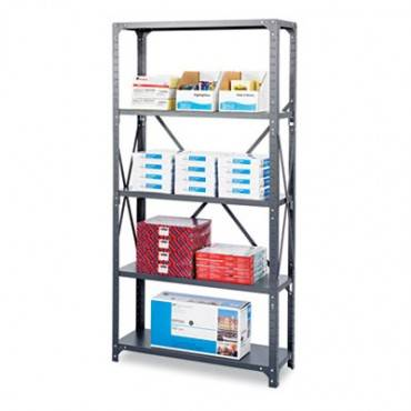 Safco  Commercial Steel Shelving Unit, Five-Shelf, 36w X 18d X 75h, Dark Gray