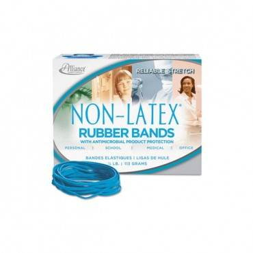 "Antimicrobial Non-latex Rubber Bands, Size 33, 0.04"" Gauge, Cyan Blue, 4 Oz Box, 180/box"