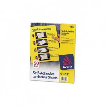 "Clear Self-adhesive Laminating Sheets, 3 Mil, 9"" X 12"", Matte Clear, 50/box"