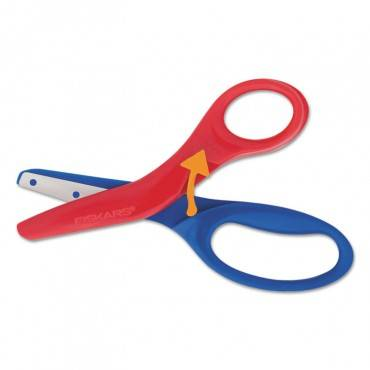 "Preschool Training Scissors, 5""l, 1 1/2"" Cut, Plastic, Red/blue"