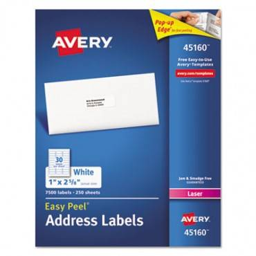 Address Labels For Laser Printers, 1 X 2 5/8, White, 7500/box