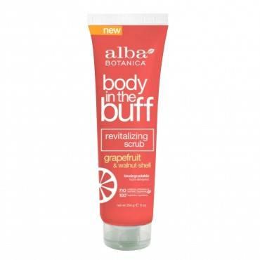 Alba Botanica Body In The Buff Scrub - Grapefruit And Walnut Shell - 9 Oz.