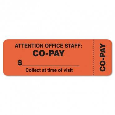 Attention Office Staff Medical Labels, 1 X 3, Orange, 500/roll